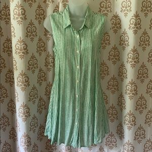 Anthro 11-1-TYLHO Breezy Green Striped long top M